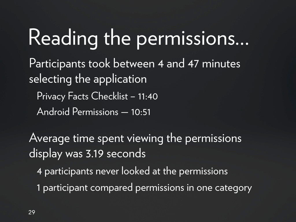 Reading the permissions... 29 Participants took...