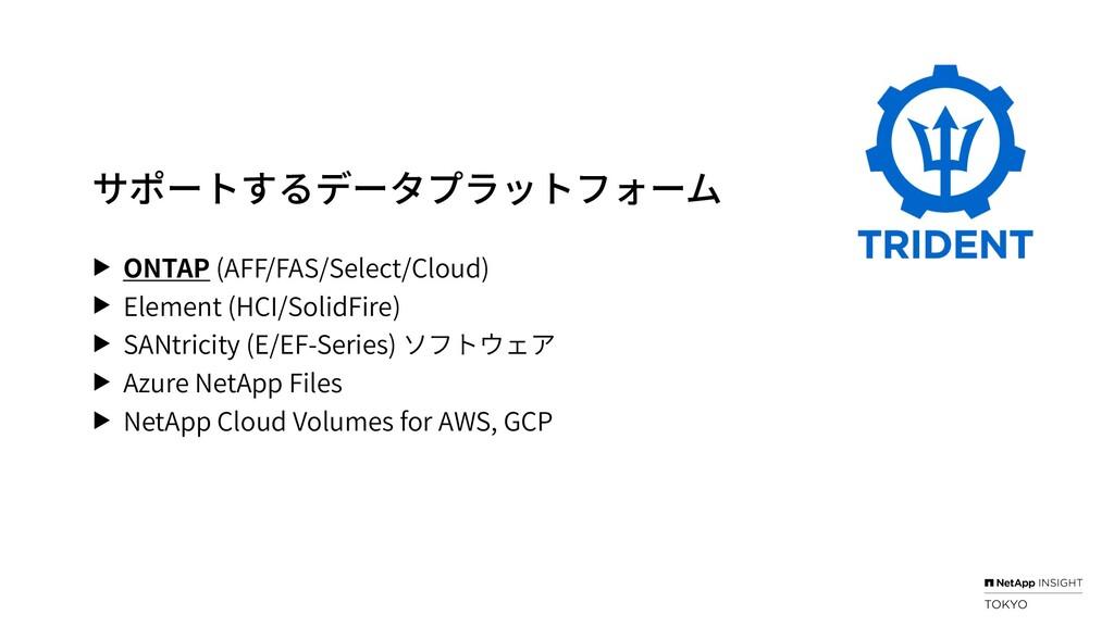 サポートするデータプラットフォーム ▶ ONTAP (AFF/FAS/Select/Cloud...