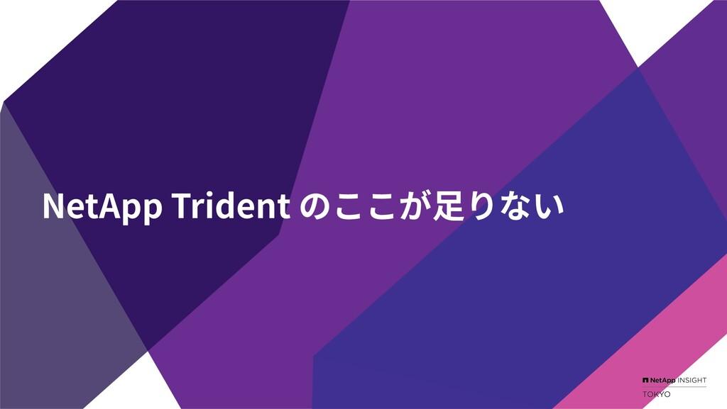 NetApp Trident のここが⾜りない