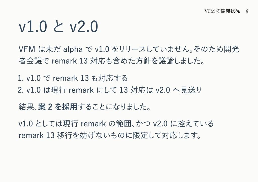v1.0 と v2.0 VFM は未だ alpha で v1.0 をリリースしていません。 そ...