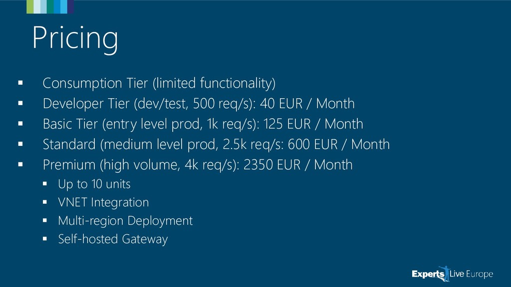 Pricing ▪ Consumption Tier (limited functionali...