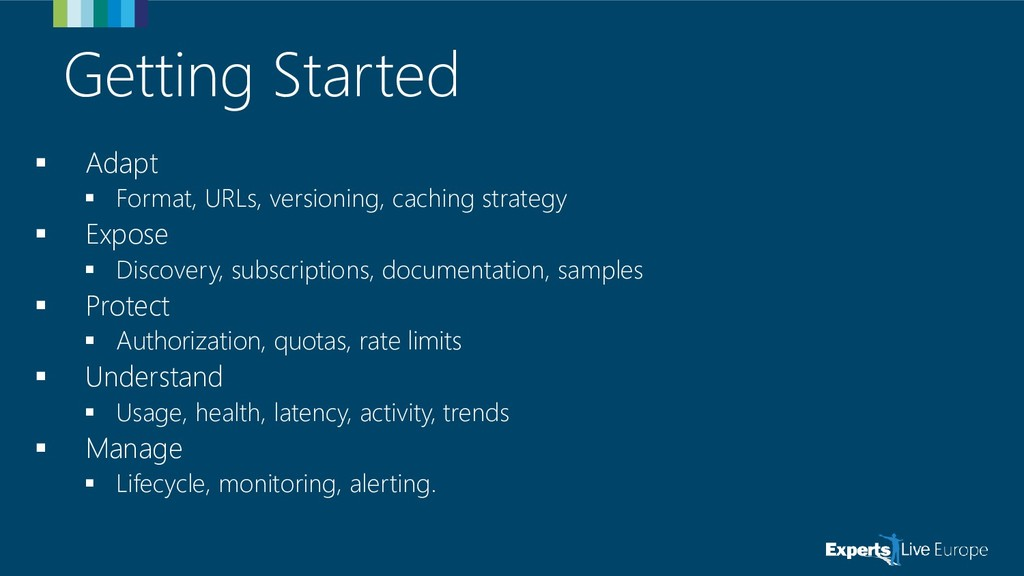Getting Started ▪ Adapt ▪ Format, URLs, version...