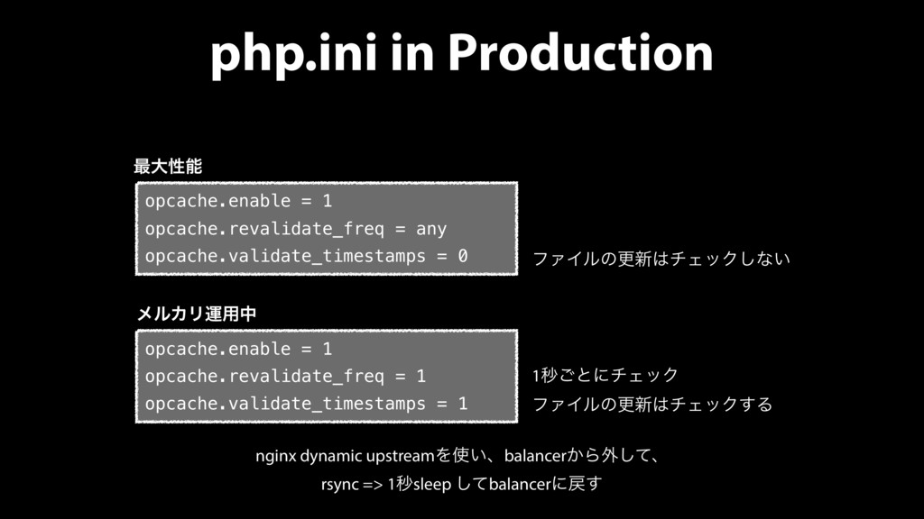 php.ini in Production opcache.enable = 1 opcach...