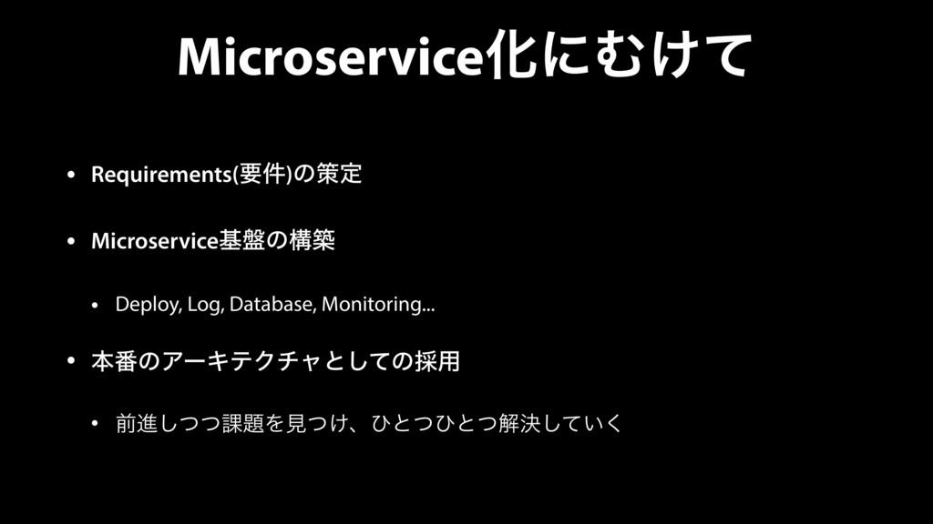 MicroserviceԽʹΉ͚ͯ • Requirements(ཁ݅)ͷࡦఆ • Micro...