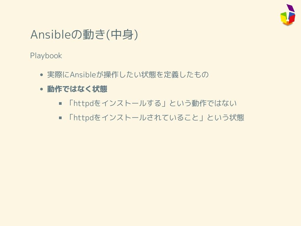 Ansibleの動き(中身) Playbook 実際にAnsibleが操作したい状態を定義した...
