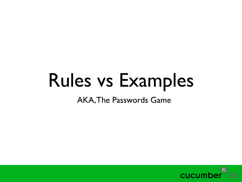 Rules vs Examples AKA, The Passwords Game