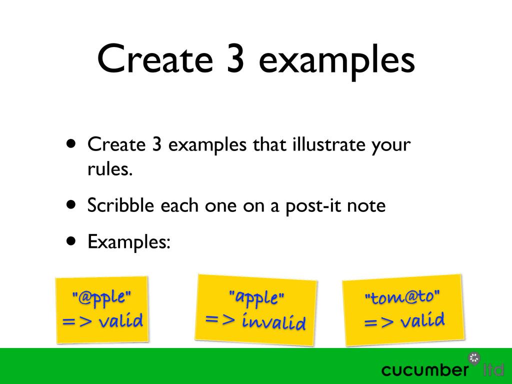Create 3 examples • Create 3 examples that illu...