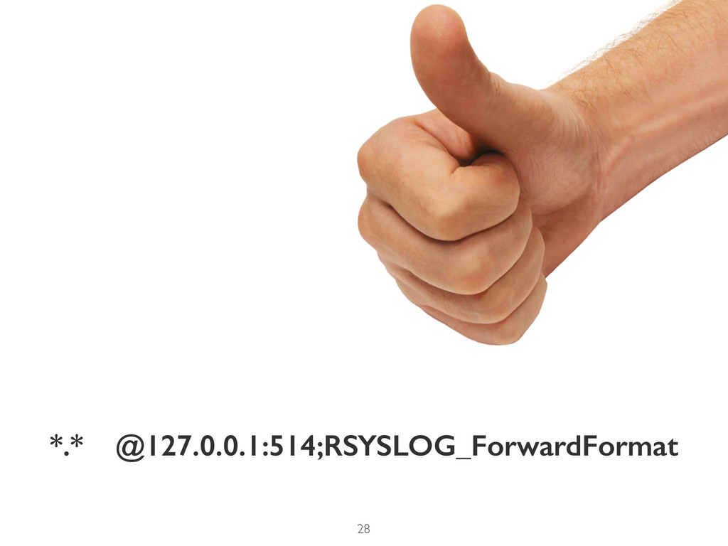 *.* @127.0.0.1:514;RSYSLOG_ForwardFormat 28