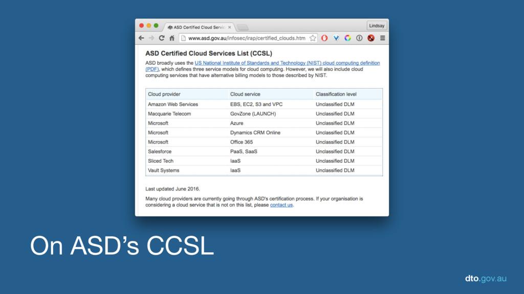 dto.gov.au On ASD's CCSL