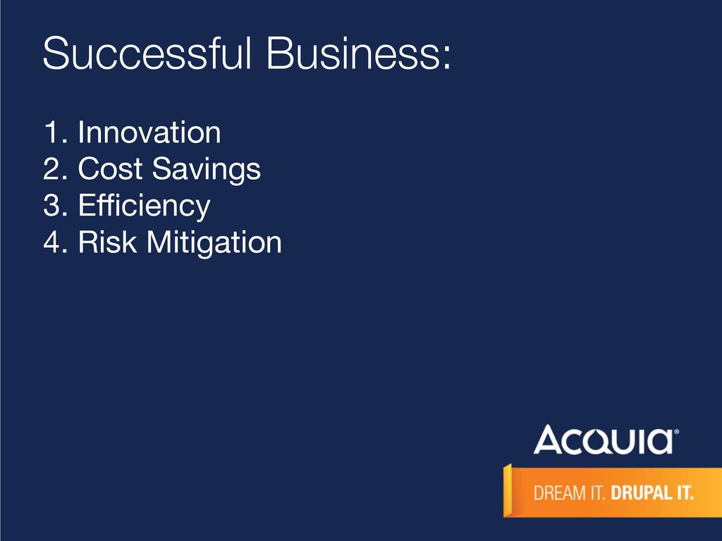 Successful Business: 1. Innovation  2. Cost Sav...