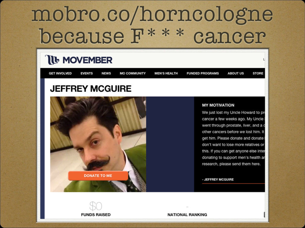 mobro.co/horncologne because F*** cancer