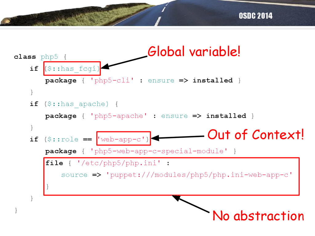 OSDC 2014 class php5 { if ($::has_fcgi) package...