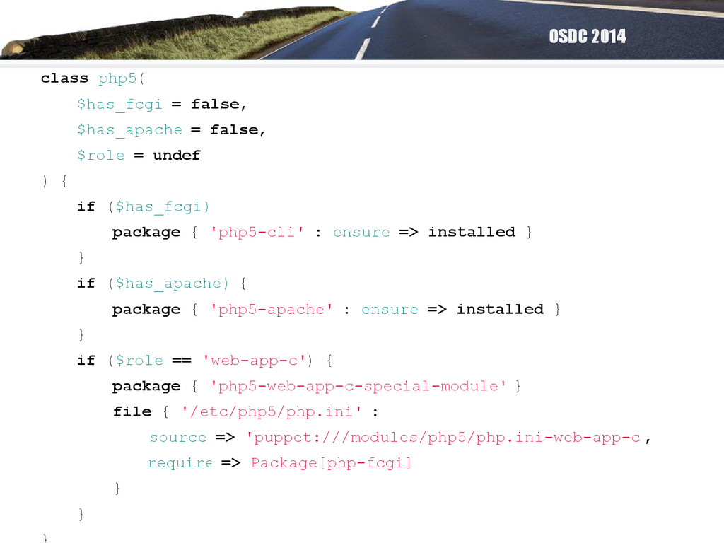 OSDC 2014 class php5( $has_fcgi = false, $has_a...