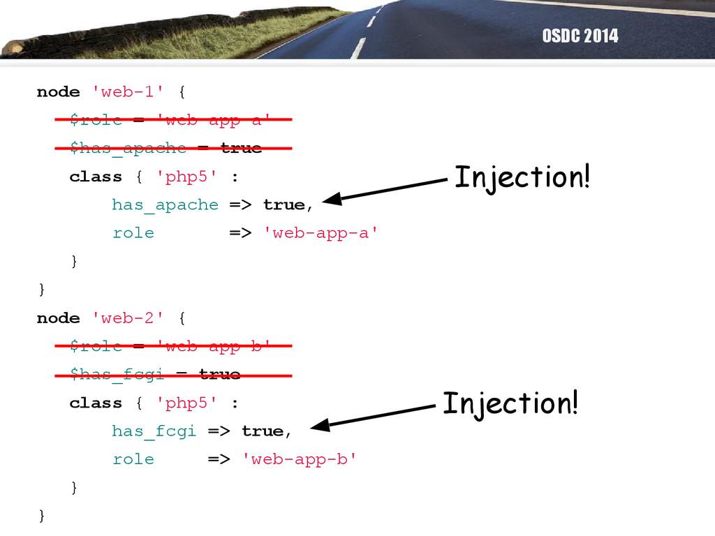 OSDC 2014 node 'web-1' { $role = 'web-app-a' $h...