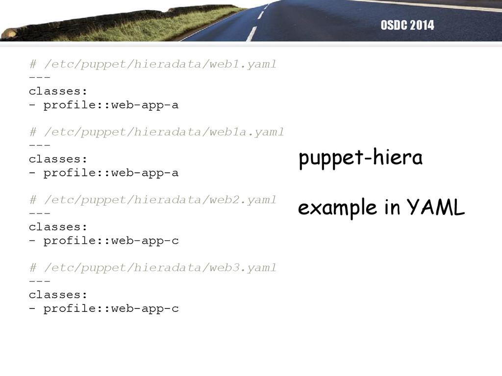 OSDC 2014 # /etc/puppet/hieradata/web1.yaml ---...
