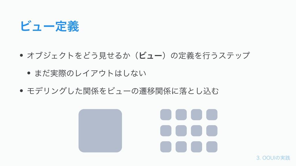 006*ͷ࣮ફ Ϗϡʔఆٛ • ΦϒδΣΫτΛͲ͏ݟͤΔ͔ʢϏϡʔʣͷఆٛΛߦ͏εςοϓ...