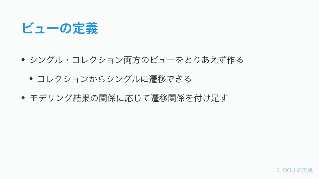 006*ͷ࣮ફ Ϗϡʔͷఆٛ • γϯάϧɾίϨΫγϣϯ྆ํͷϏϡʔΛͱΓ͋͑ͣ࡞Δ •...