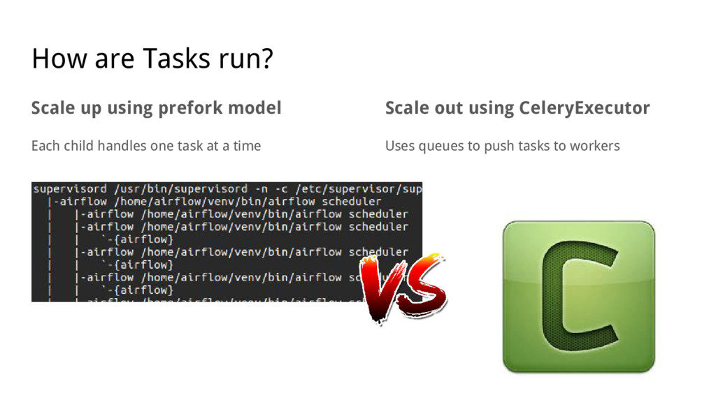How are Tasks run? Scale up using prefork model...