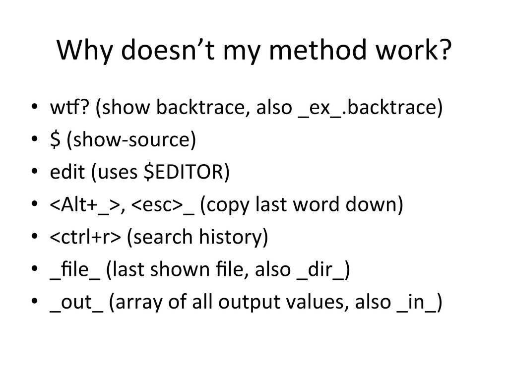 Why doesn't my method work?  • ...
