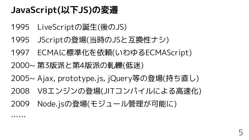 JavaScript(以下JS)の変遷 1995 LiveScriptの誕生(後のJS) 19...