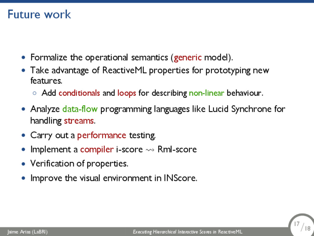 Future work • Formalize the operational semanti...
