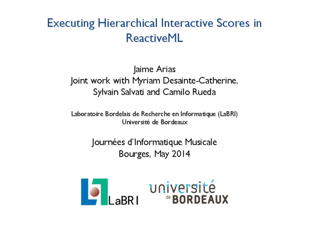 Executing Hierarchical Interactive Scores in Re...