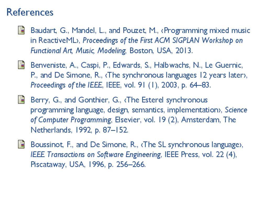 References Baudart, G., Mandel, L., and Pouzet,...