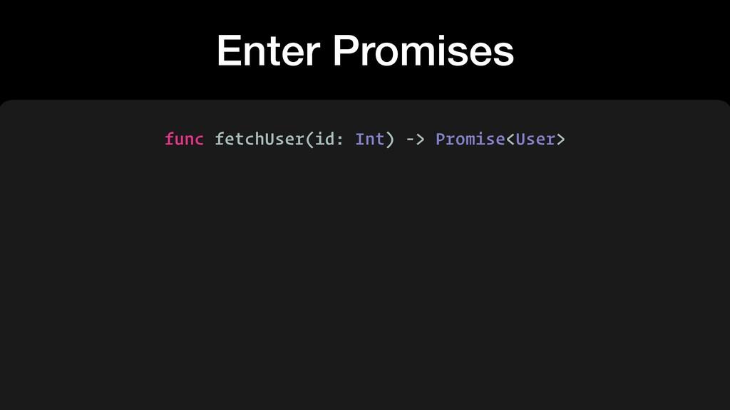 Enter Promises func fetchUser(id: Int) -> Promi...