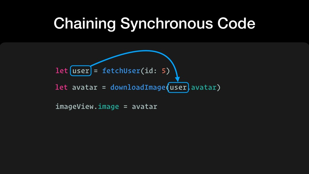Chaining Synchronous Code let user = fetchUser(...