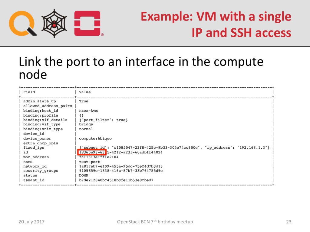 Example: VM with a single IP and SSH access 20 ...