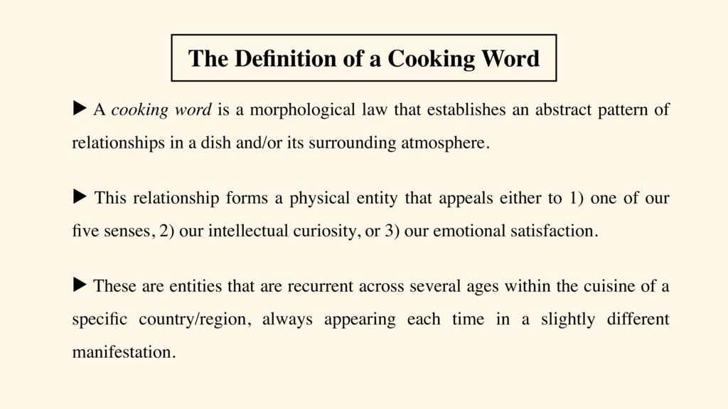 ▶ A cooking word is a morphological law that es...
