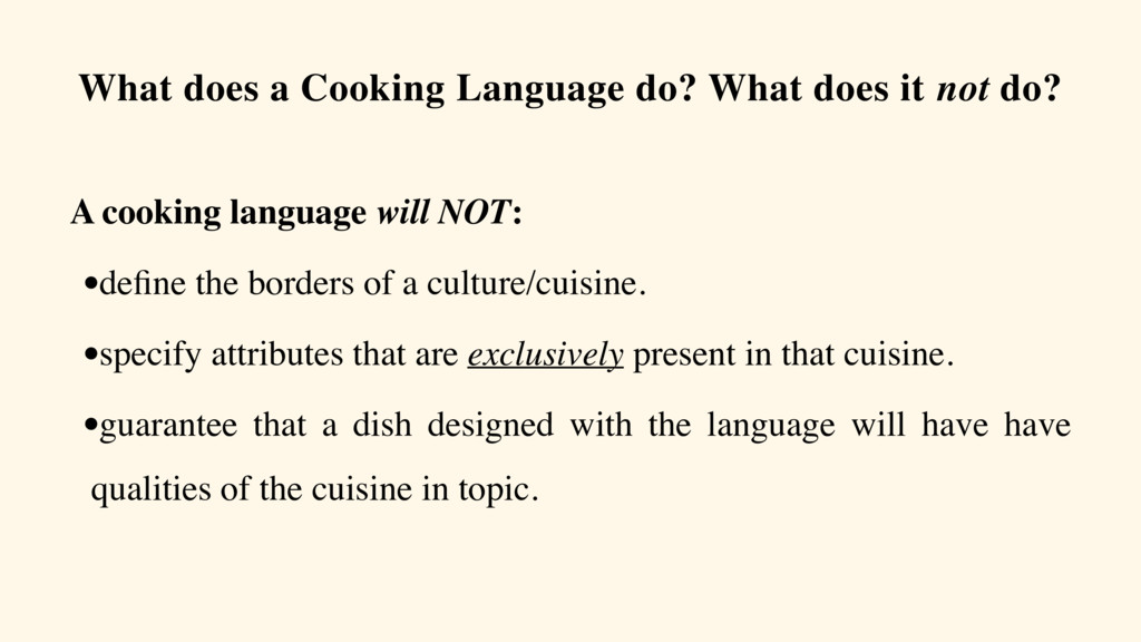 What does a Cooking Language do? What does it n...
