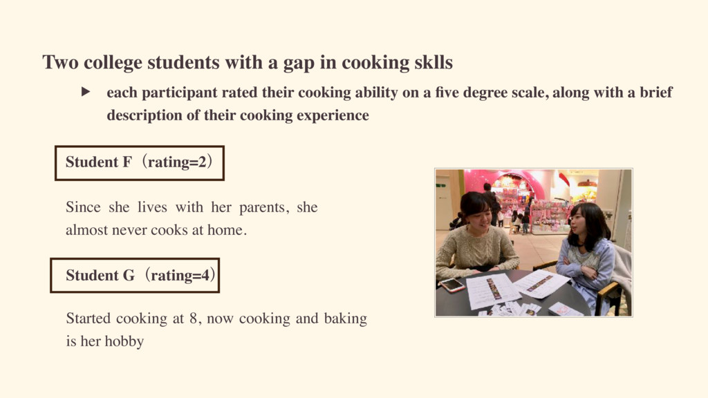Two college students with a gap in cooking skll...
