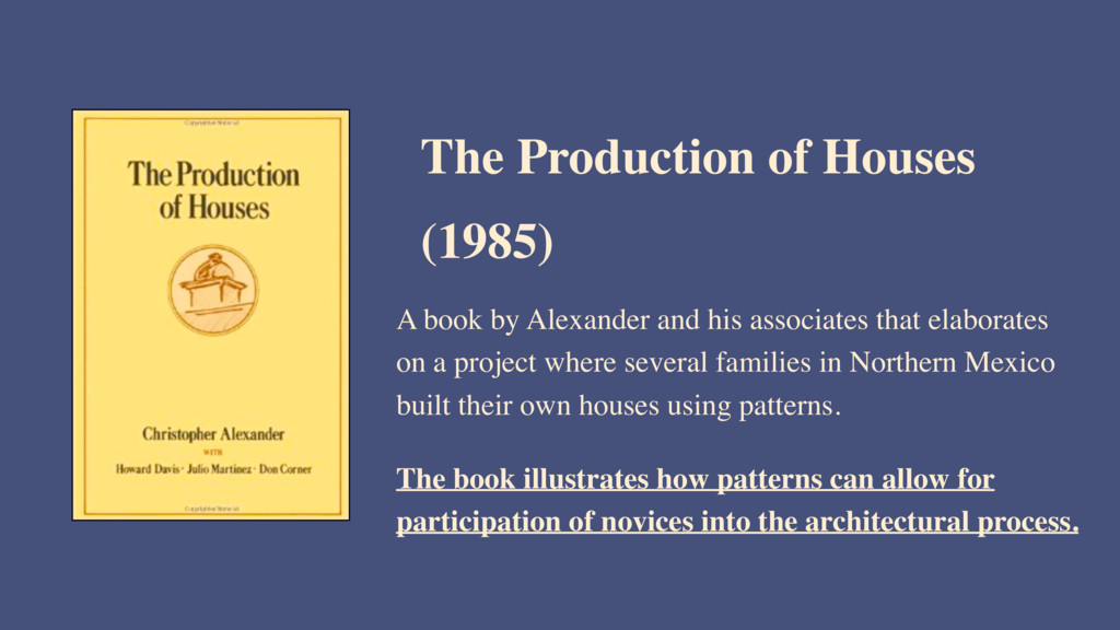 A book by Alexander and his associates that ela...