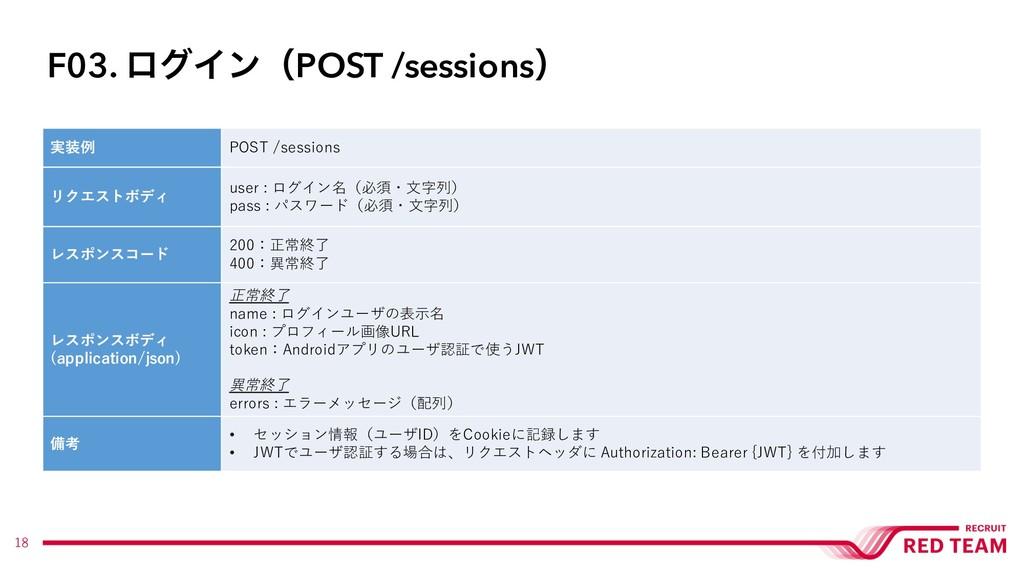 18 実装例 POST /sessions リクエストボディ user : ログイン名(必須・...