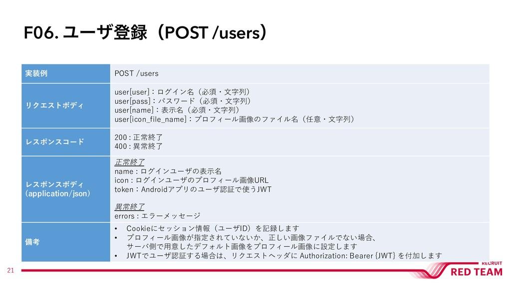 21 実装例 POST /users リクエストボディ user[user]:ログイン名(必須...