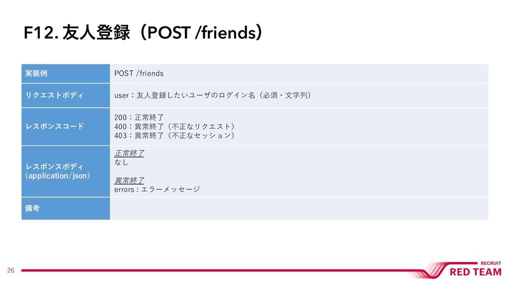 26 実装例 POST /friends リクエストボディ user:友⼈登録したいユーザのロ...