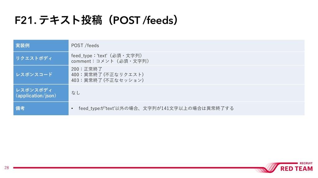 28 実装例 POST /feeds リクエストボディ feed_type:'text'(必須...