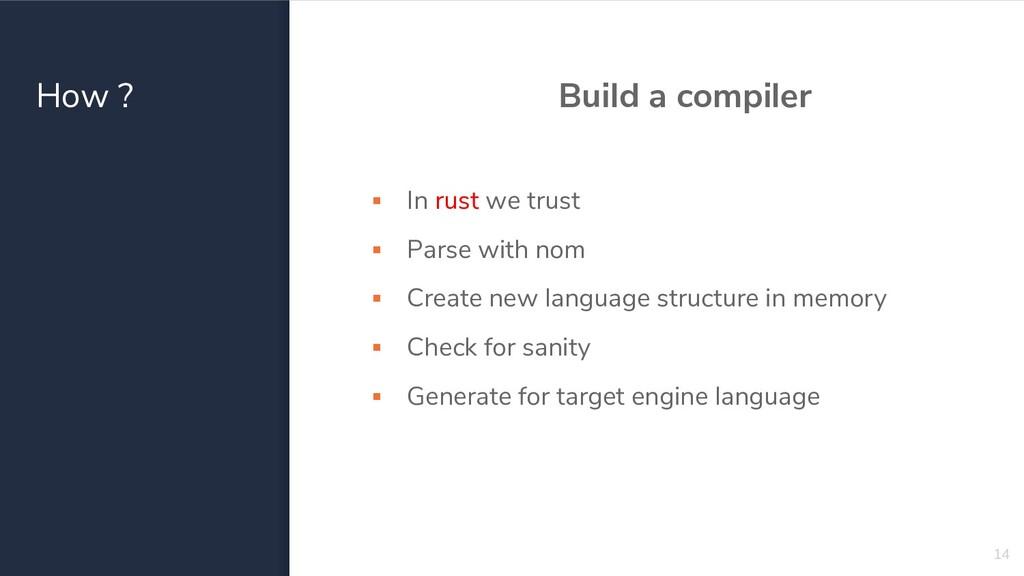 How ? Build a compiler ▪ In rust we trust ▪ Par...