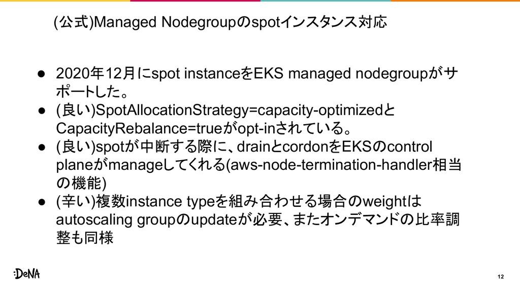 (公式)Managed Nodegroupのspotインスタンス対応 12 ● 2020年12...