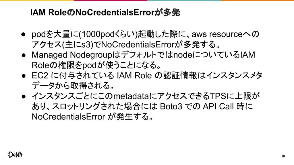 IAM RoleのNoCredentialsErrorが多発 18 ● podを大量に(100...