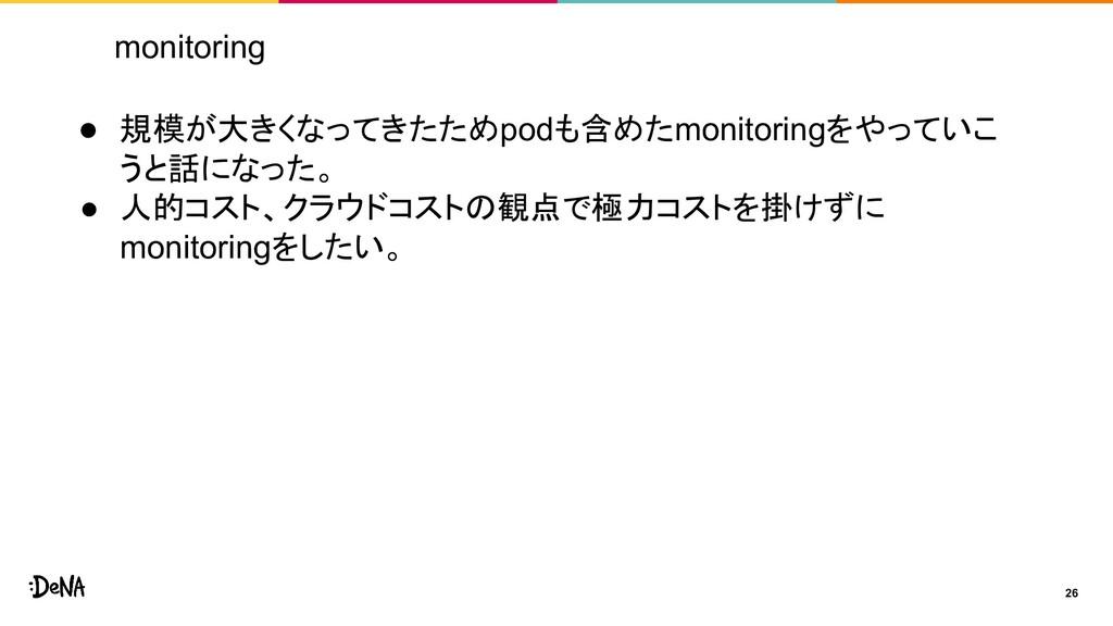 monitoring 26 ● 規模が大きくなってきたためpodも含めたmonitoringを...