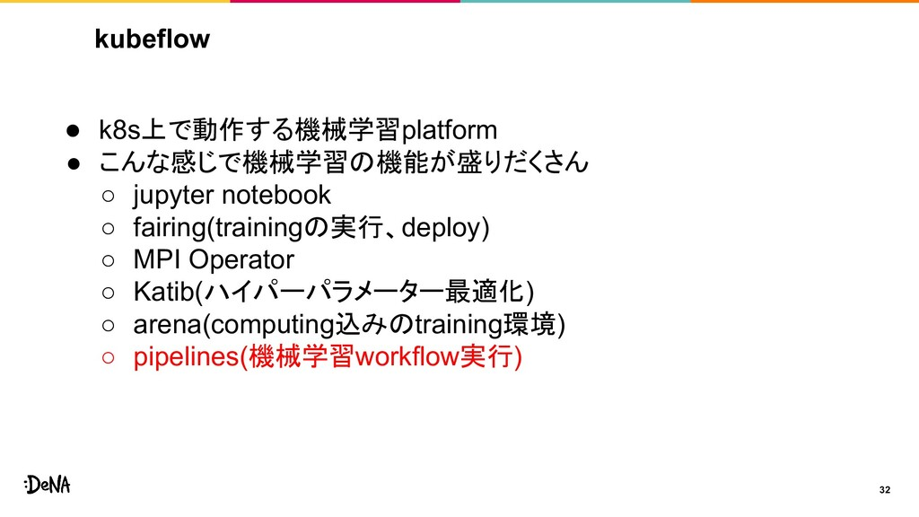 kubeflow 32 ● k8s上で動作する機械学習platform ● こんな感じで機械学...