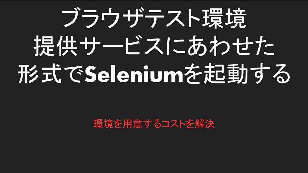 ブラウザテスト環境 提供サービスにあわせた 形式でSeleniumを起動する 環境を用意するコ...