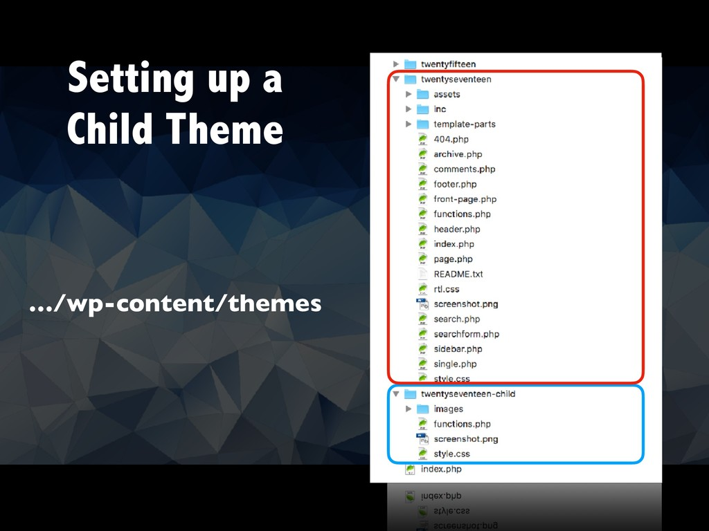 Setting up a Child Theme …/wp-content/themes