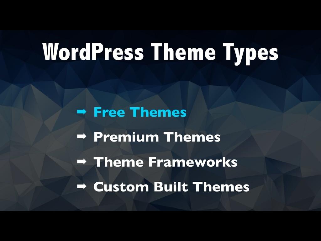 WordPress Theme Types ➡ Free Themes ➡ Premium T...