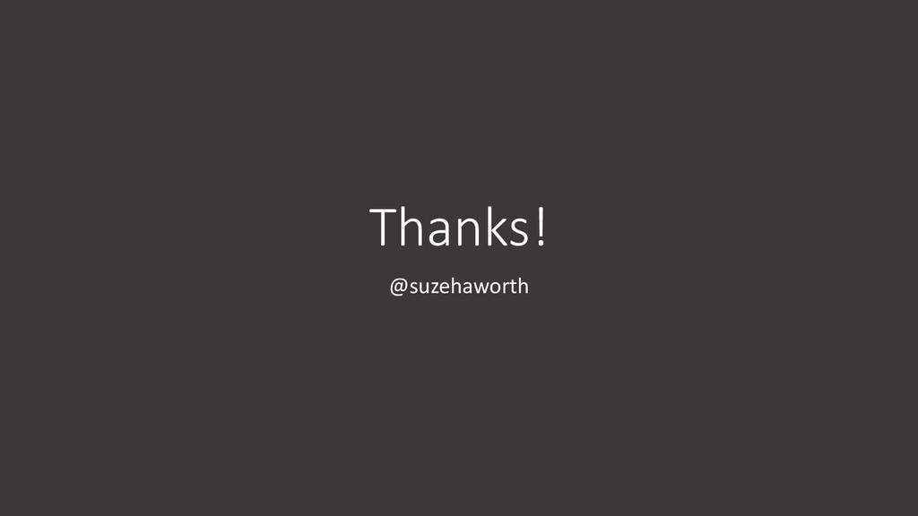 Thanks! @suzehaworth