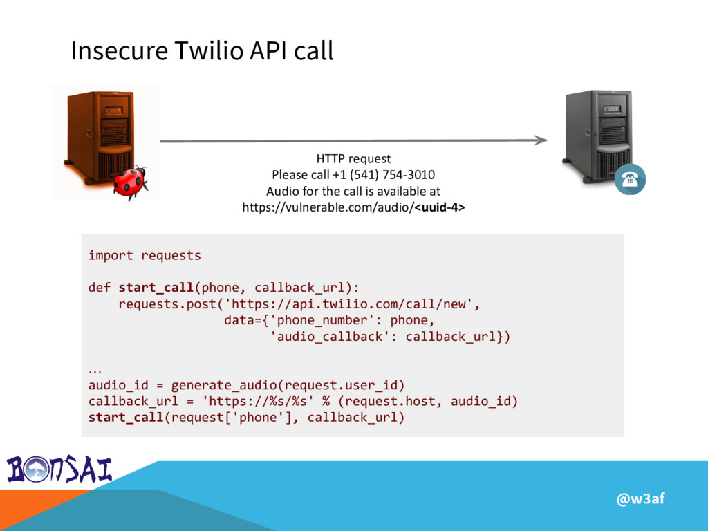 @w3af Insecure Twilio API call HTTP request Ple...
