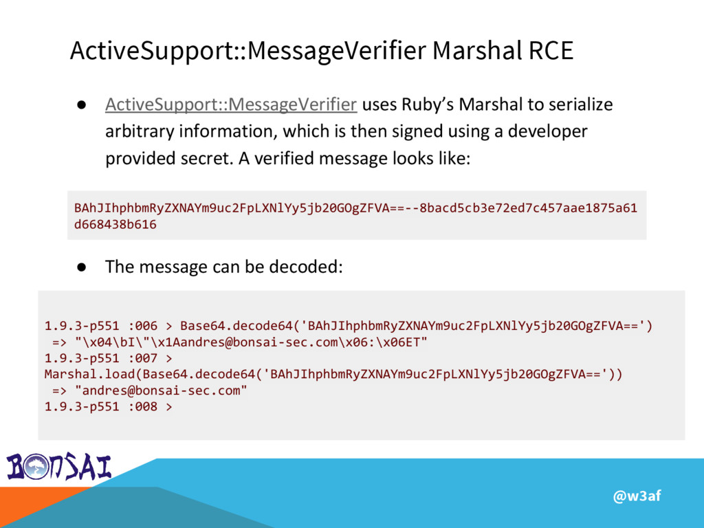 @w3af ActiveSupport::MessageVerifier Marshal RC...